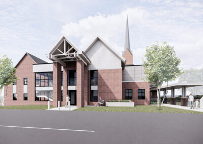 An exterior drawing of the building looking from the existing parking lot east.